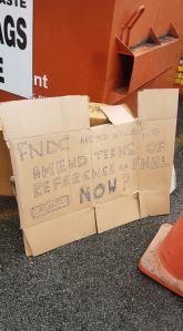 FNHL protest banner